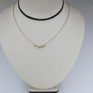 18K yg and diamond briolette charm necklace. 9 briolettes=0.62cts