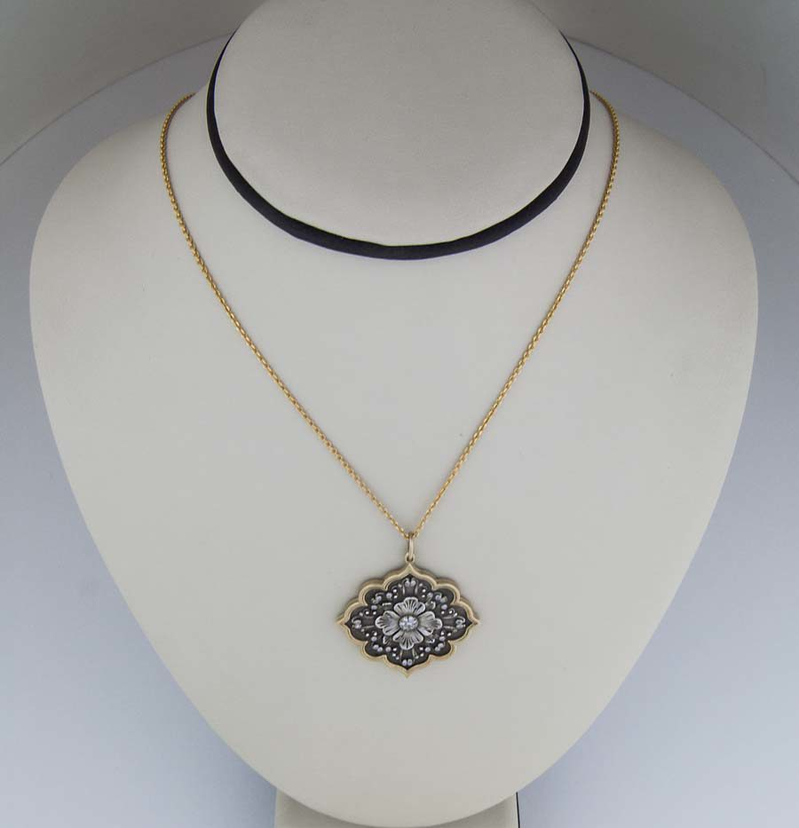 18k sterling double sided pendant