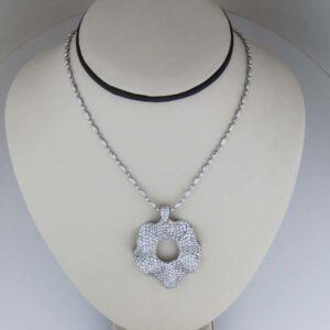 18k white gold and diamond wave pendant