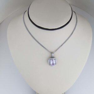 Kunzite and Diamond pendant in 18k white gold