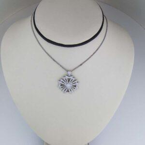 18K WG and diamond gothic cross pendant 0.94cts G VS1