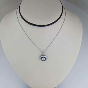 18k black and white diamond circle pendant