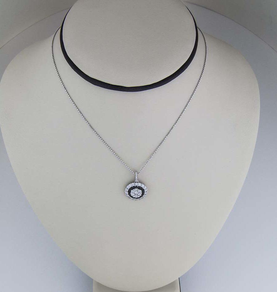 18k black and white diamond circle pendant