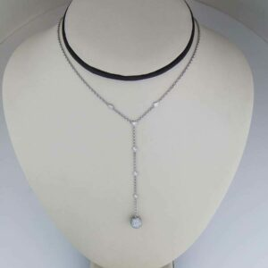 Diamond drop ball necklace in 18k