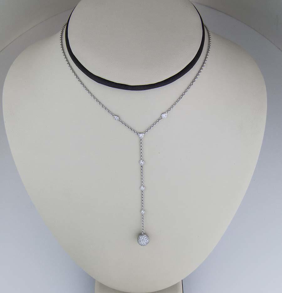 Diamond drop ball necklace in 18k