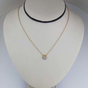 24k diamond circle pendant