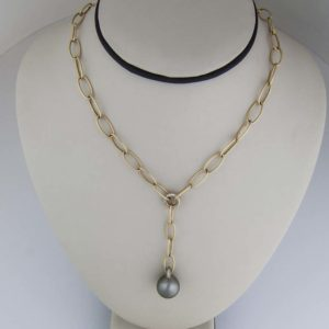 18k yellow gold Tahitian diamond drop pendant