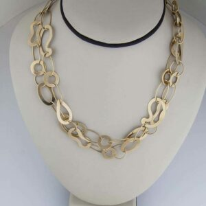 18k yg large Kidney bean necklace. 36""