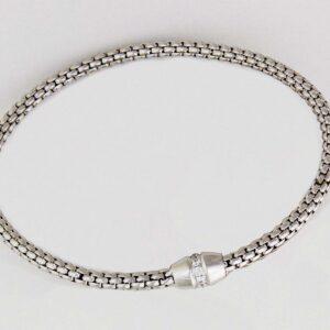 18k wg and diamond small beaded stretch bracelet. 0.19cts