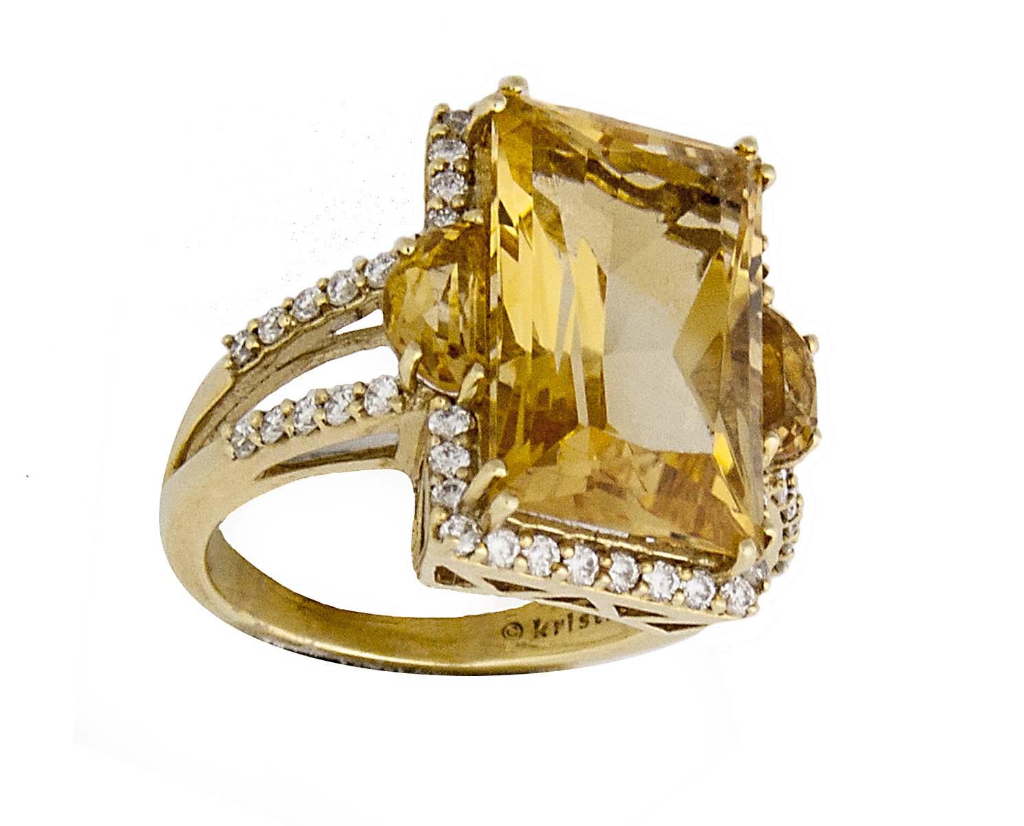 18k citrine and diamond cocktail ring