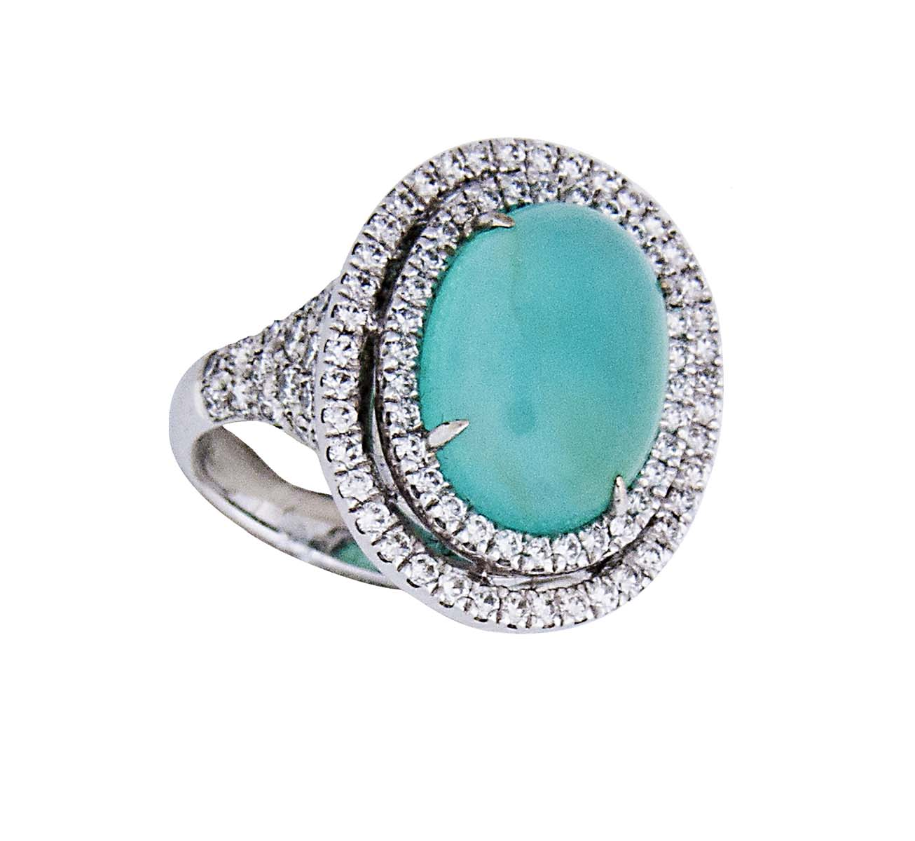 18k Peruvian Opal and diamond cocktail ring