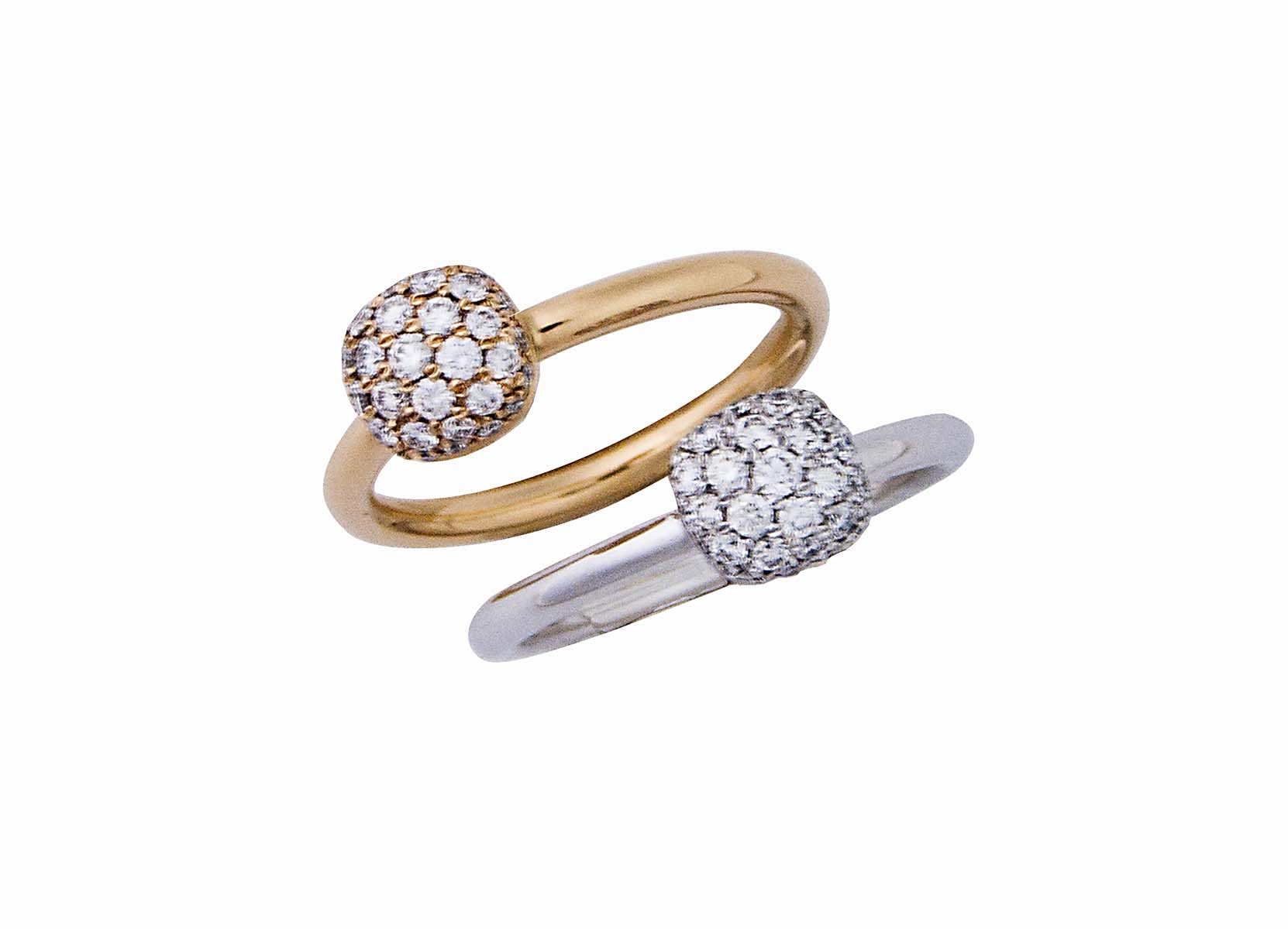 One 18K RG ring with 0.35cts. one 18k wg ring with 0.35cts