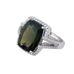 handmade green Tourmaline and diamond ring