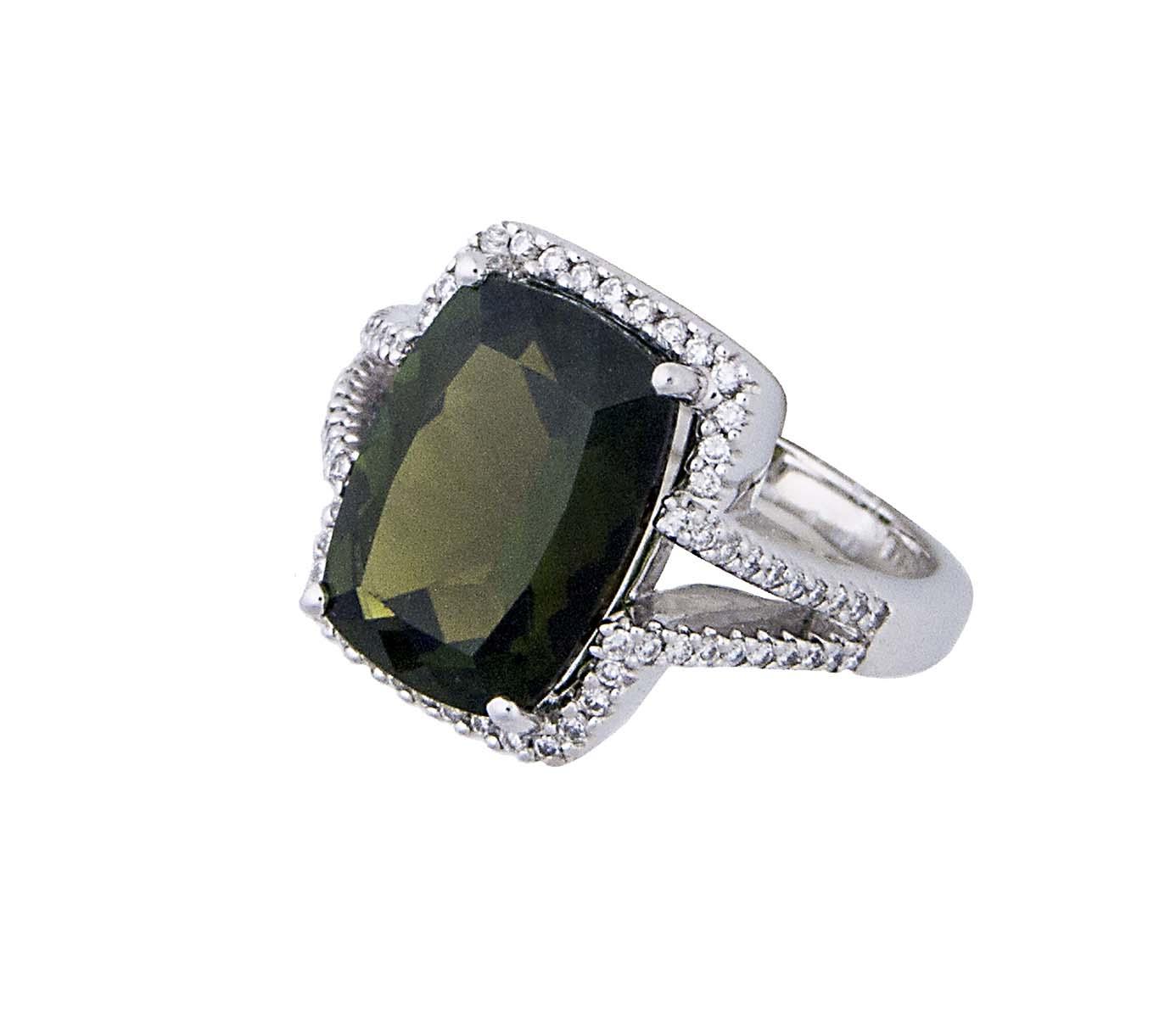 handmade green Tourmaline and diamond ring