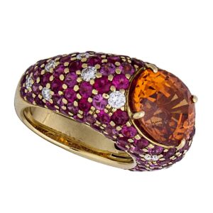 18k RARE spessartine garnet ring with spinel and diamonds