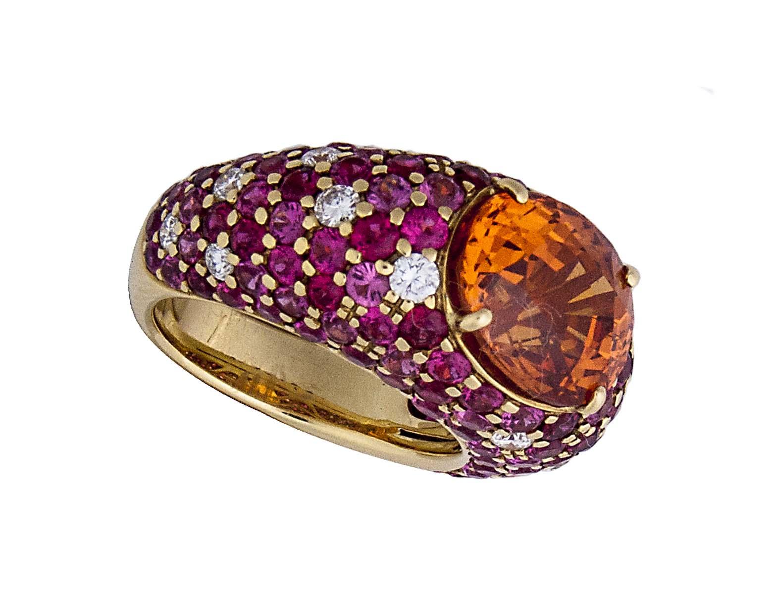 18k RARE spessartine garnet ring with spinel and diamonds
