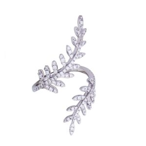 18k white gold and diamond fern leaf open ring