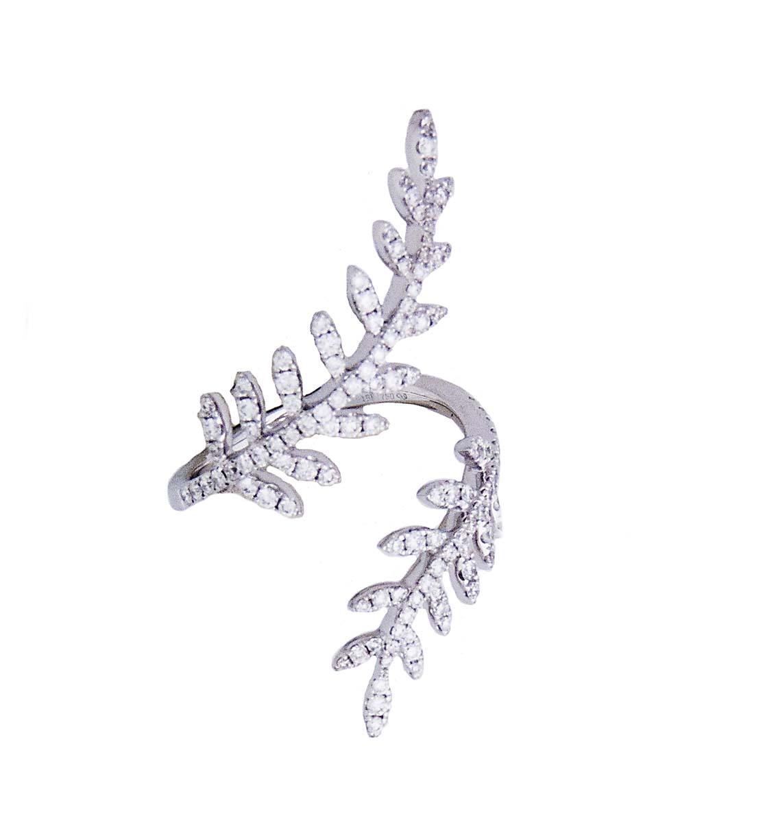 18k white gold and diamond fern leaf open ring