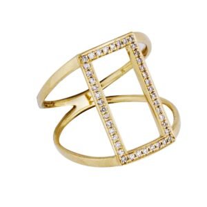 18k yg open rectangle wide ring.0.16cts