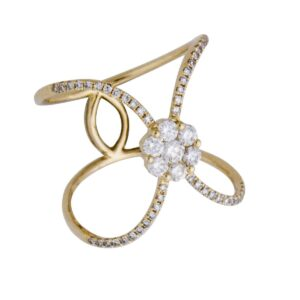 18k open pattern yellow gold and diamond ring