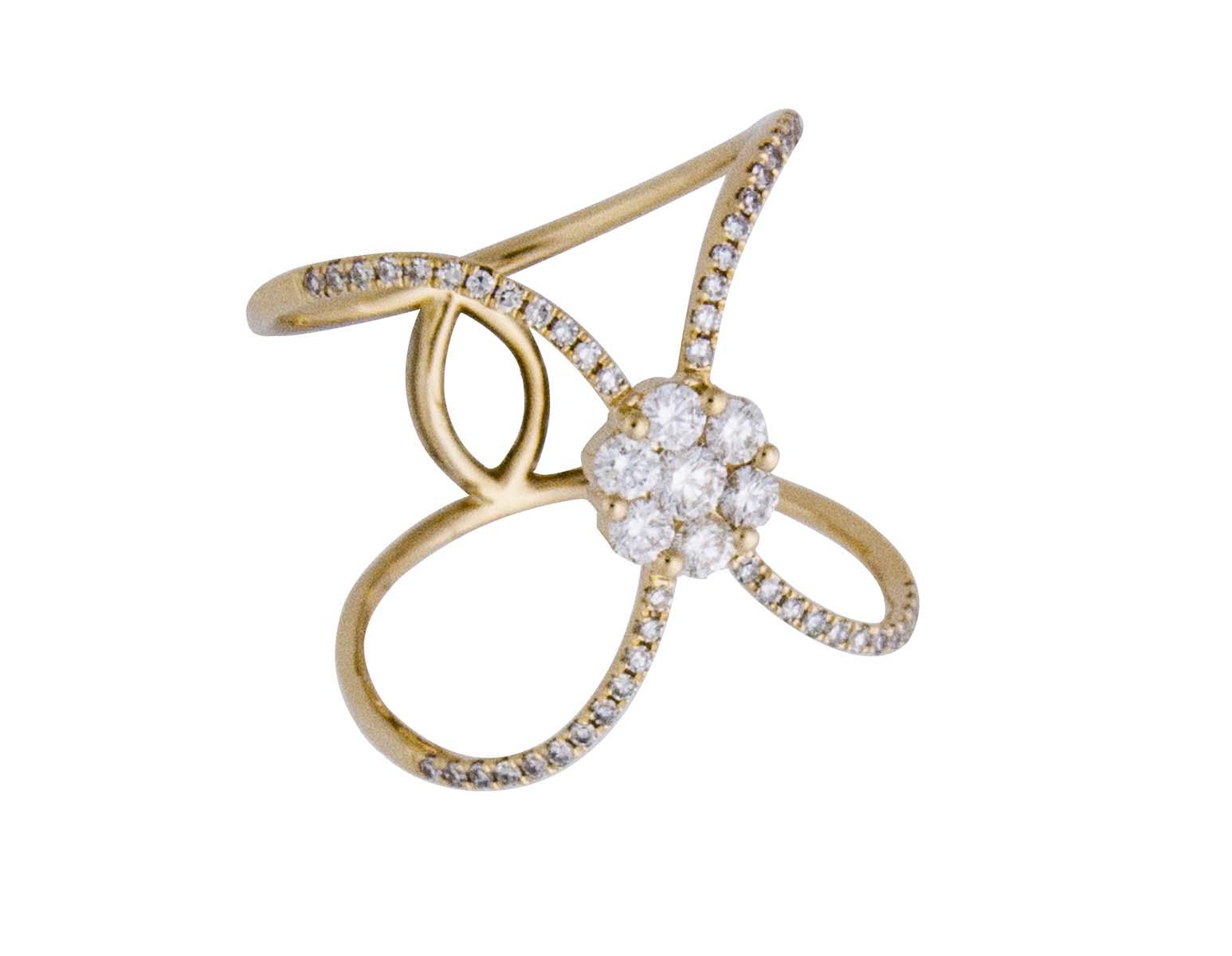 18k open pattern yellow gold and diamond ring