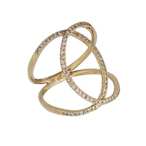 18k funky interlocking circle diamond ring