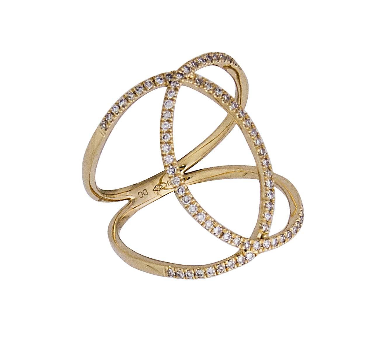 18k funky interlocking circle diamond ring