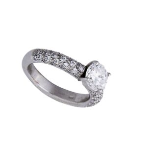 18k handmade pave shank with brilliant cut Center stone diamond ring