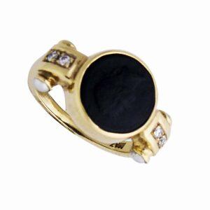 8k yg, dia and black onyx ring dia=0.10cts