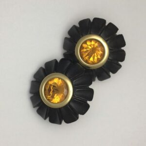Antonia Miletto hand carved ebony earrings with citrine centres set in 18kt yellow gold