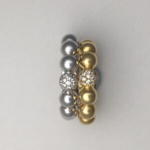18kt beaded stackable rings in yellow or white gold with diamond bead