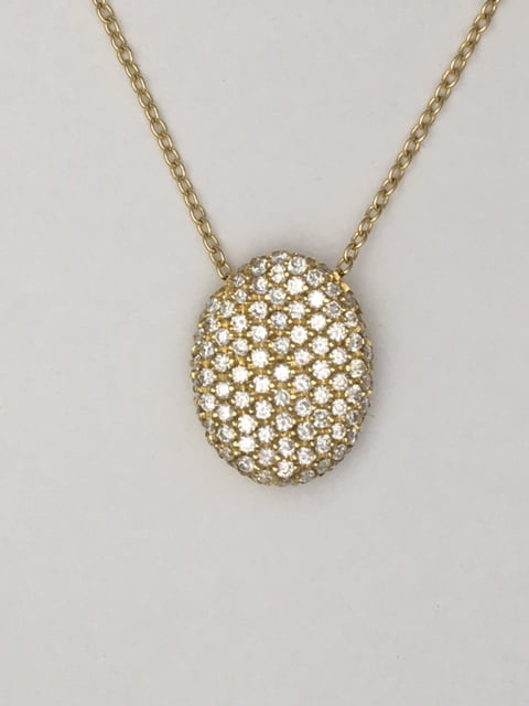 Handmade 18k yellow gold diamond pave oval wave pendant .70 cts total weight