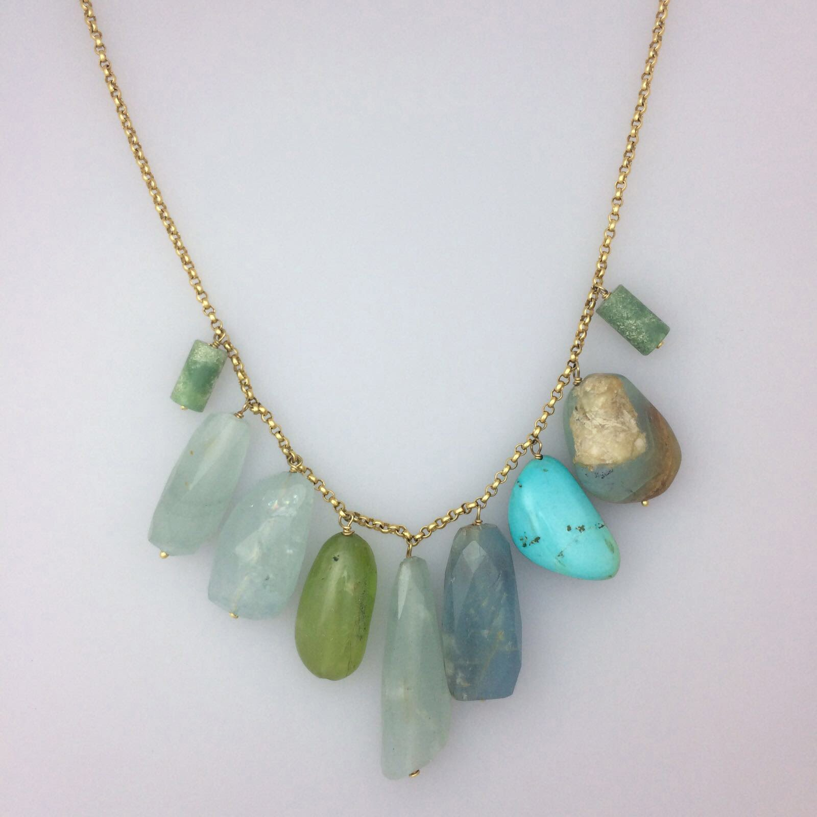 semi precious 18kt necklace