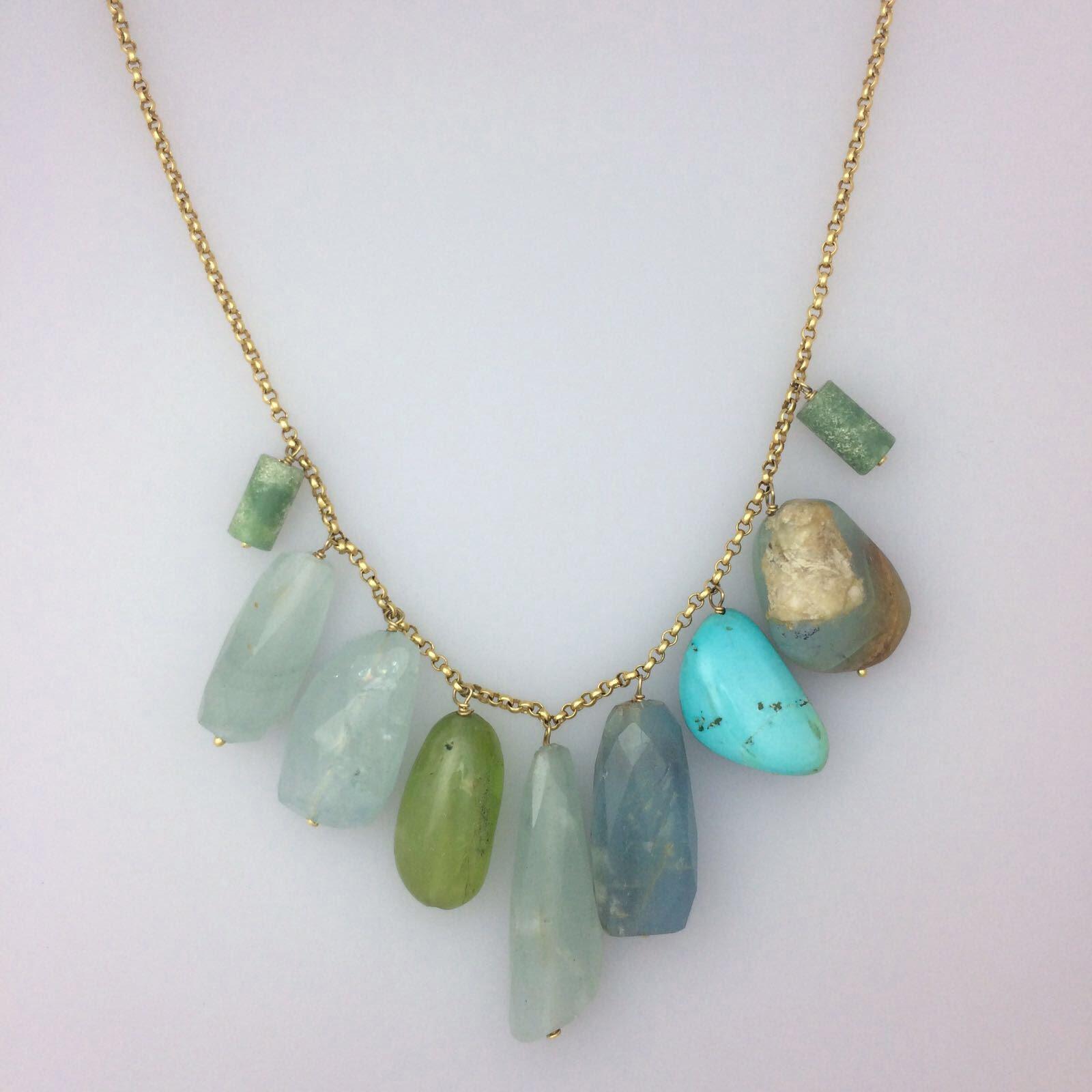 semi precious 18kt necklace